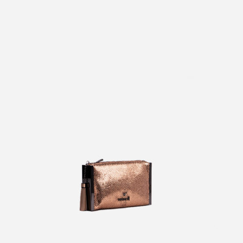 bolso de mano bronce y rosa 59033