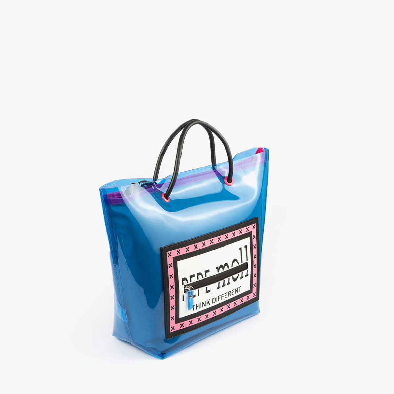 bolso de hombro con vinilo azul pepemoll 26125