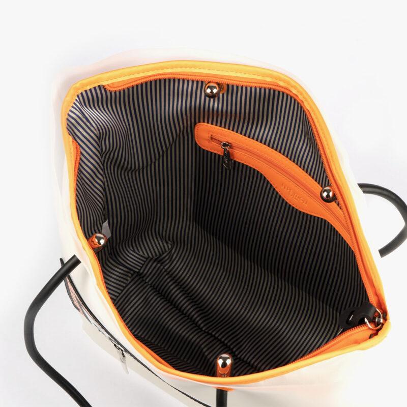 bolso de hombro con vinilo blanco pepemoll 26125 interior