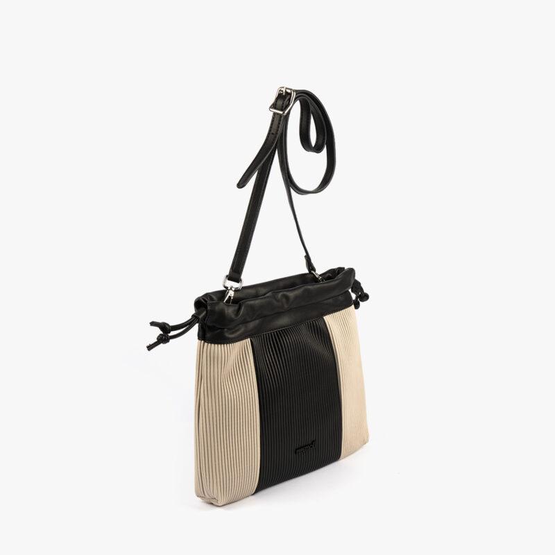 44121 bolso bandolera negro/beige pepemoll perfil