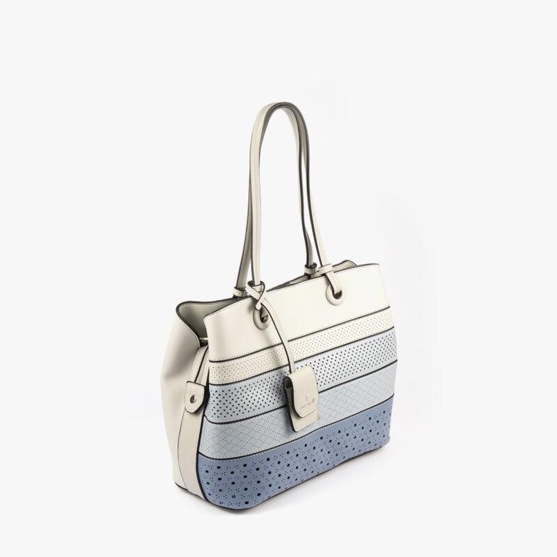 52050 bolso de hombro tricolor azul perfil