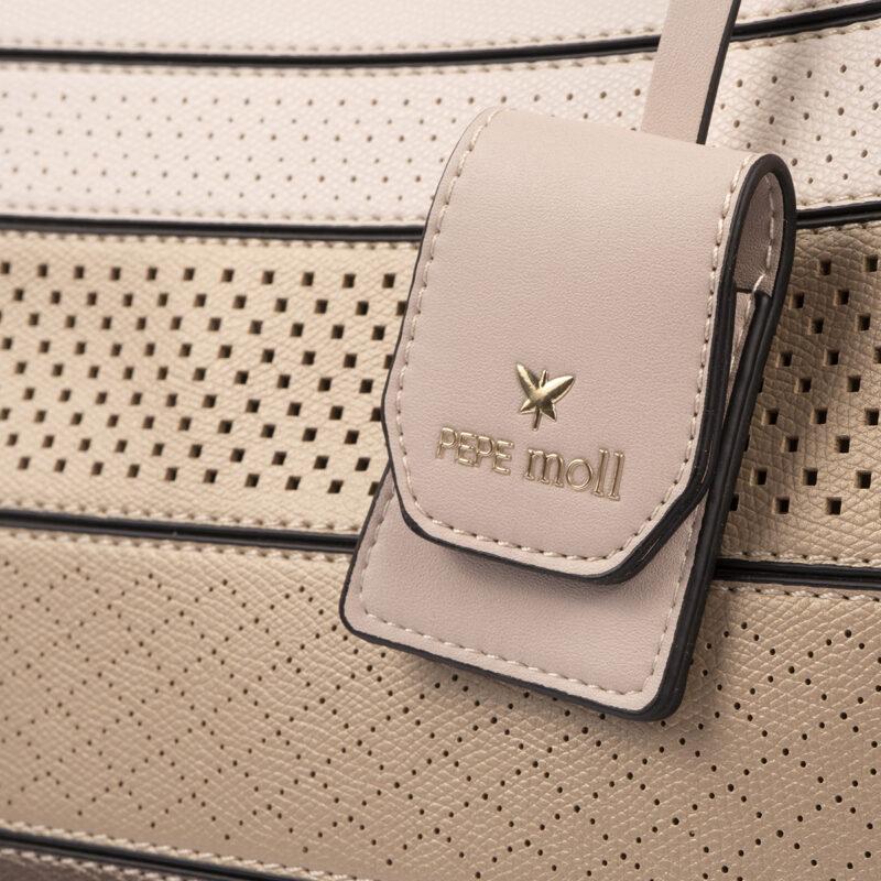 52050 bolso de hombro tricolor rosa detalle
