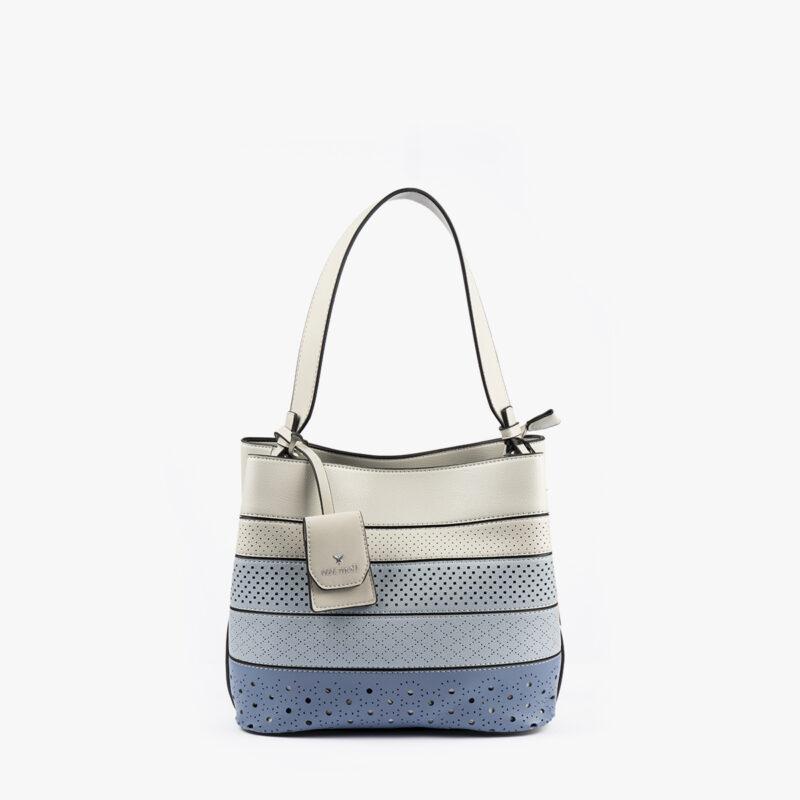 52051 bolso de hombro tricolor azul frontal