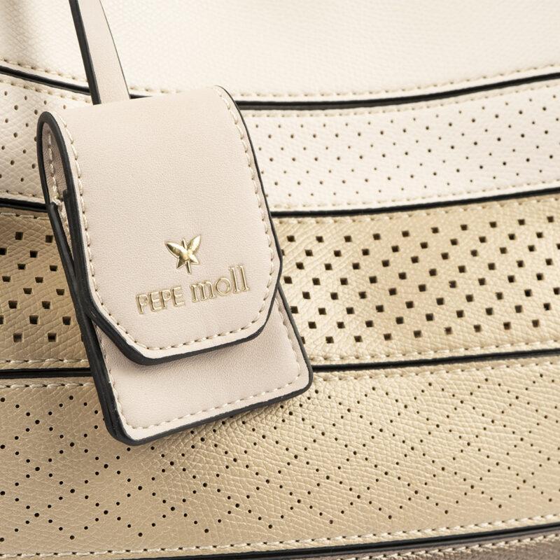 52051 bolso de hombro tricolor dorado detalle
