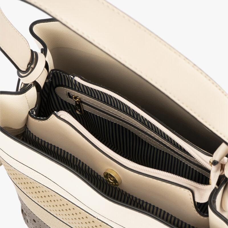 52051 bolso de hombro tricolor dorado interior