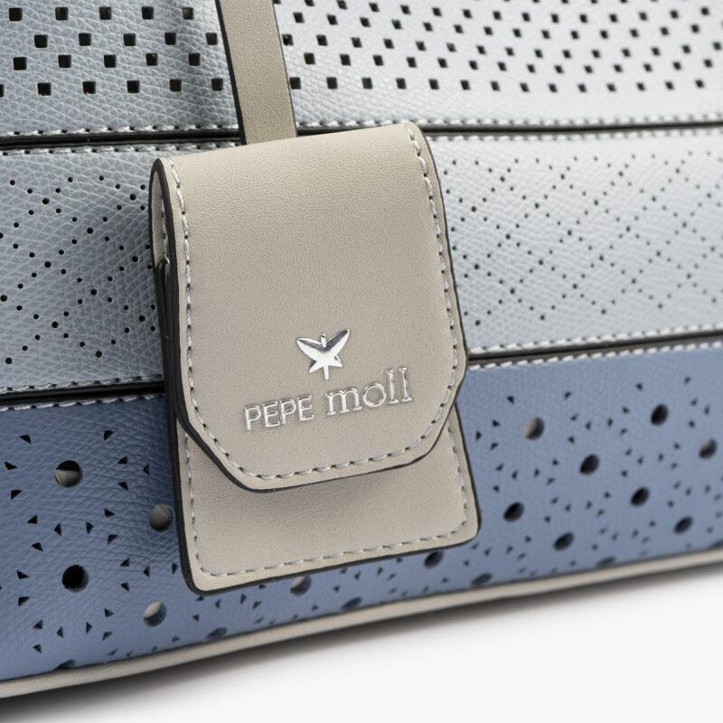 52051 bolso de mano tricolor azul detalle