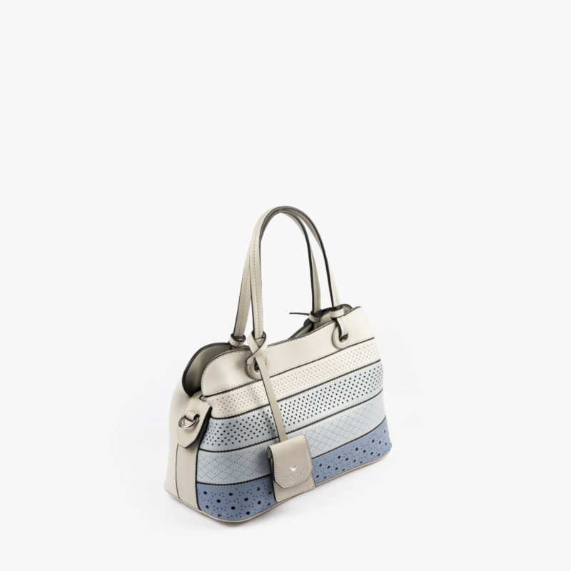 52051 bolso de mano tricolor azul perfil