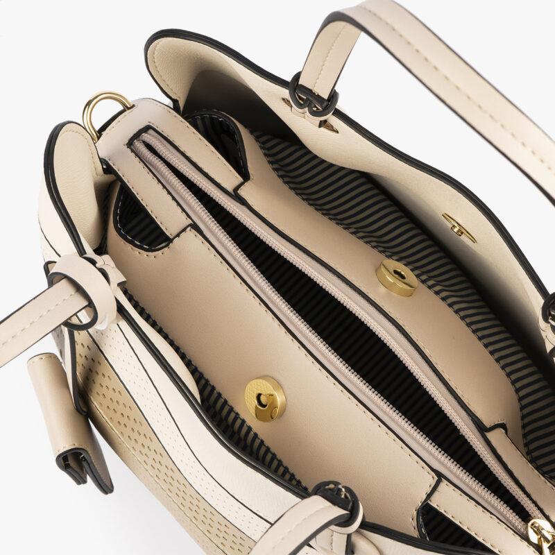 52052 bolso de mano tricolor dorado interior