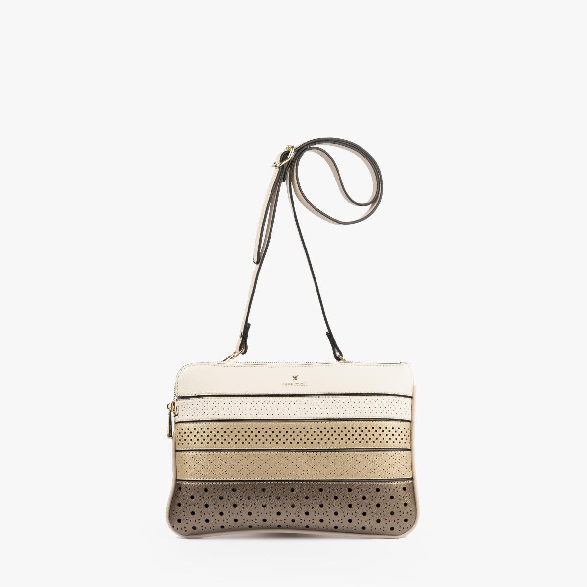 52053 bolso bandolera tricolor dorado