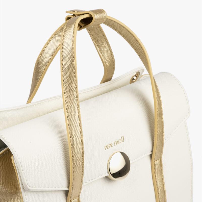 bolso de mano blanco con detalles dorados pepemoll 14125 detalle