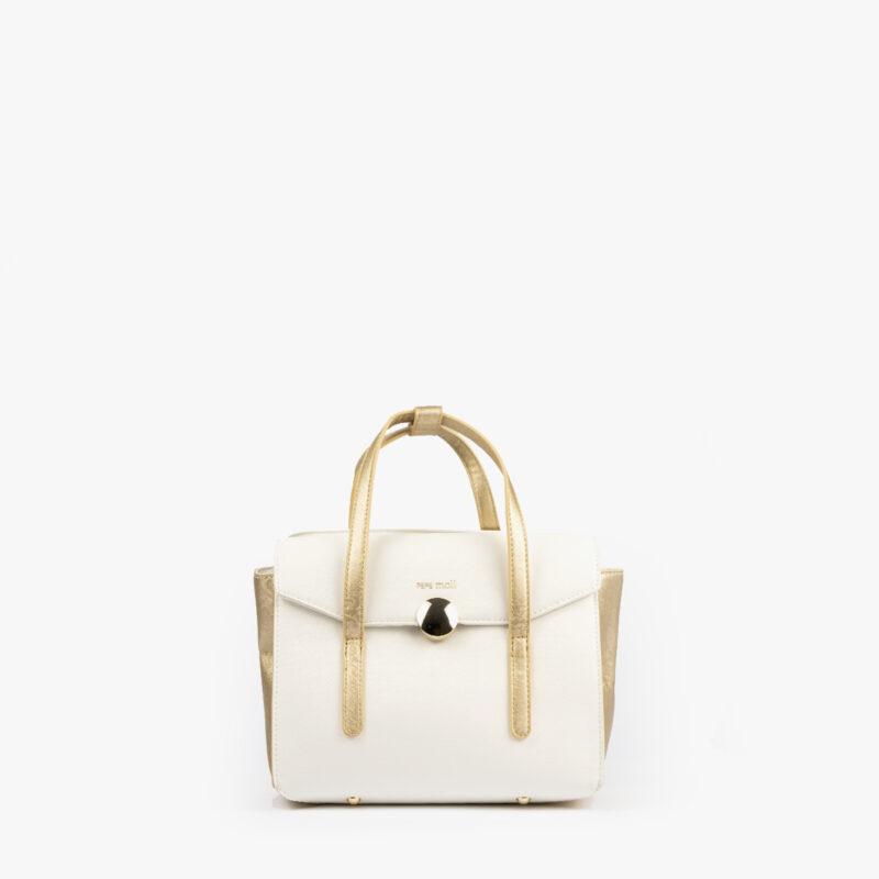 bolso de mano blanco con detalles dorados pepemoll 14125 frontal