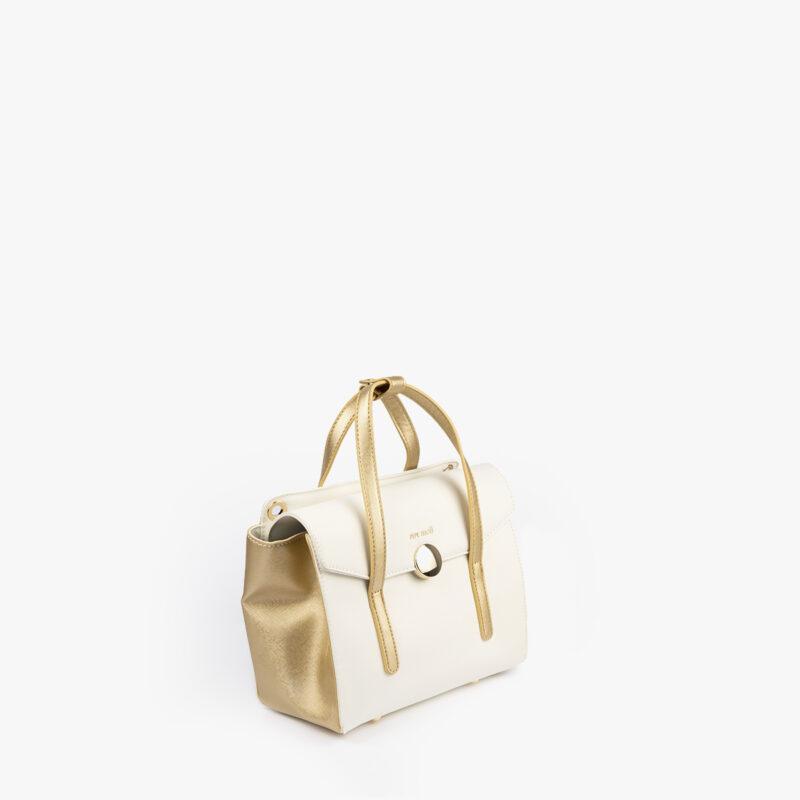 bolso de mano blanco con detalles dorados pepemoll 14125 perfil