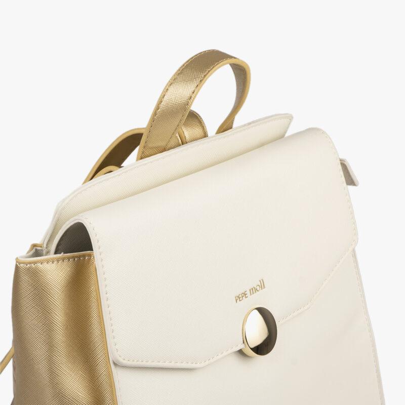 bolso mochila blanco con detalles dorados pepemoll 14125 detalle