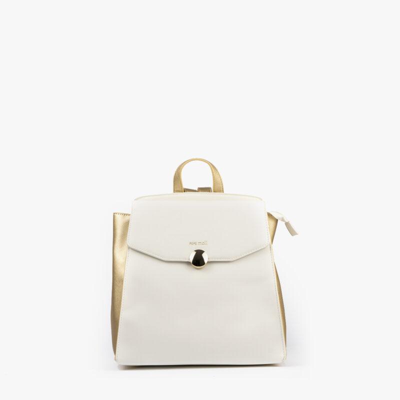 bolso mochila blanco con detalles dorados pepemoll 14125 frontal