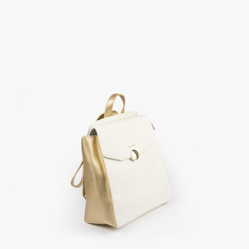 bolso mochila blanco con detalles dorados pepemoll 14125 perfil