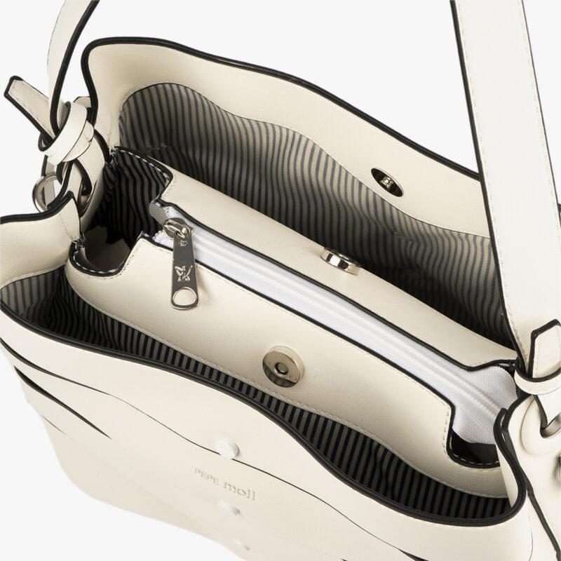 bolso de hombro en color blanco pepemoll 24120 interior