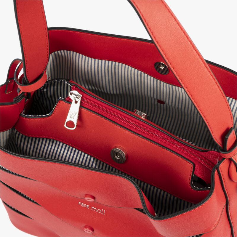 bolso de hombro en color rojo pepemoll 24120 interior