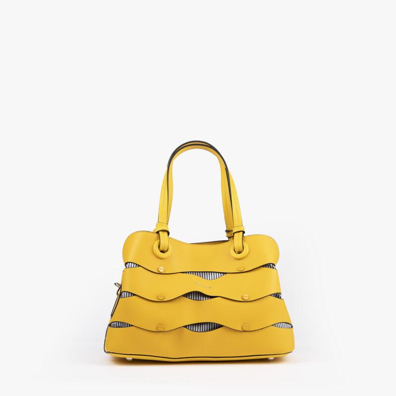 bolso de hombro en color amarillo pepemoll 24121 frontal