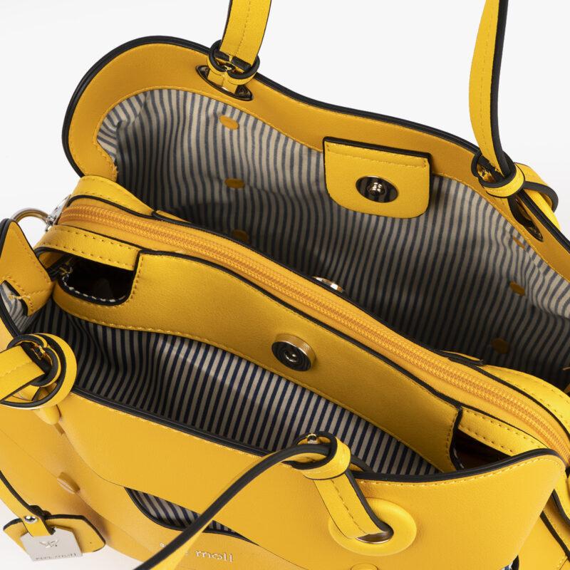 bolso de hombro en color amarillo pepemoll 24121 interior