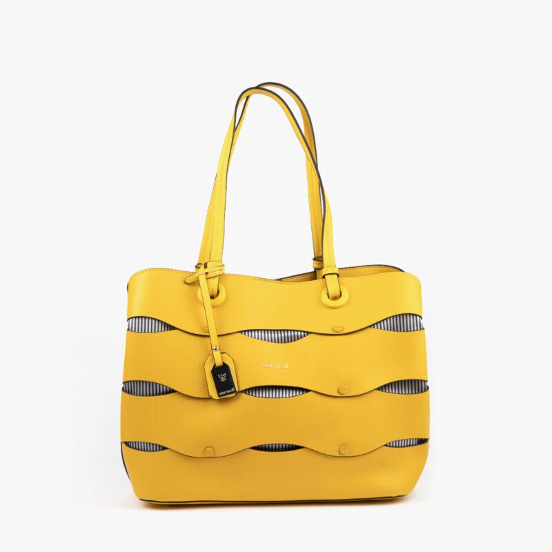 bolso de hombro en color amarillo pepemoll 24122 frontal