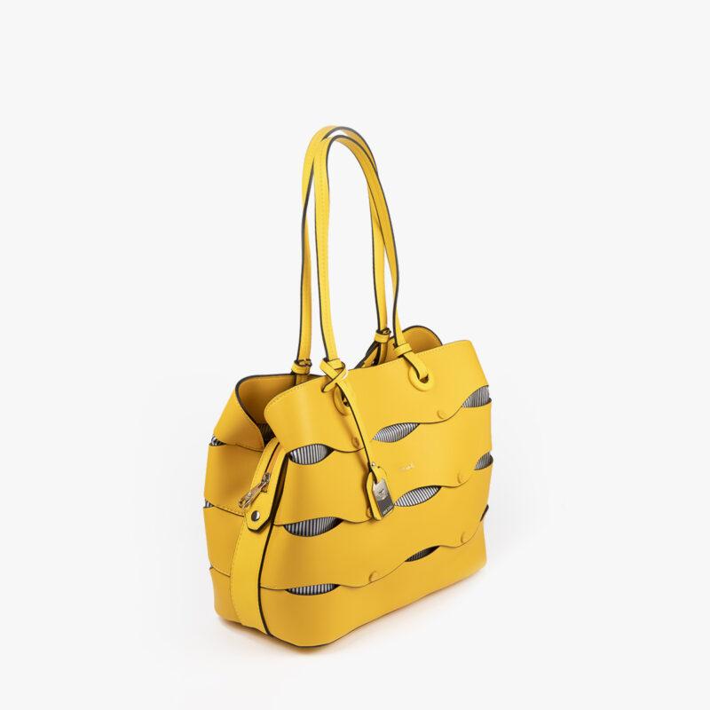 bolso de hombro en color amarillo pepemoll 24122 perfil