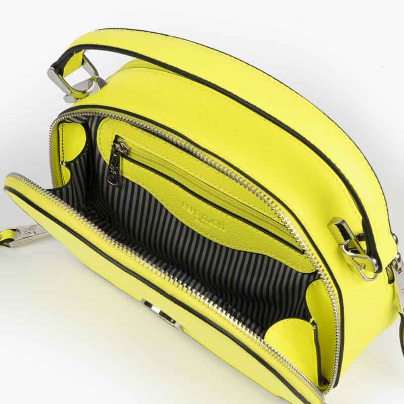bolso de mano con tono fluorescente e color lima 29118 interior