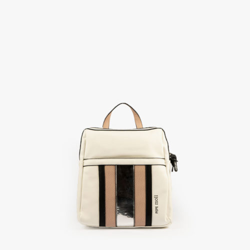 bolso mochila blanco y nude 34126 pepemoll