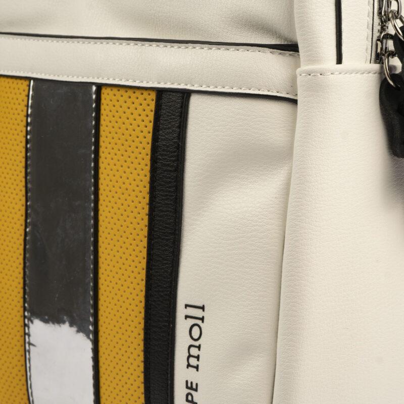 bolso mochila blanco y amarillo 34126 pepemoll detalle