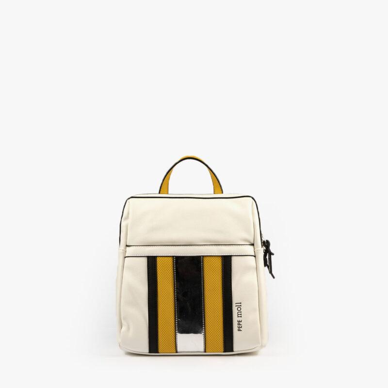 bolso mochila blanco y amarillo 34126 pepemoll frontaljpg