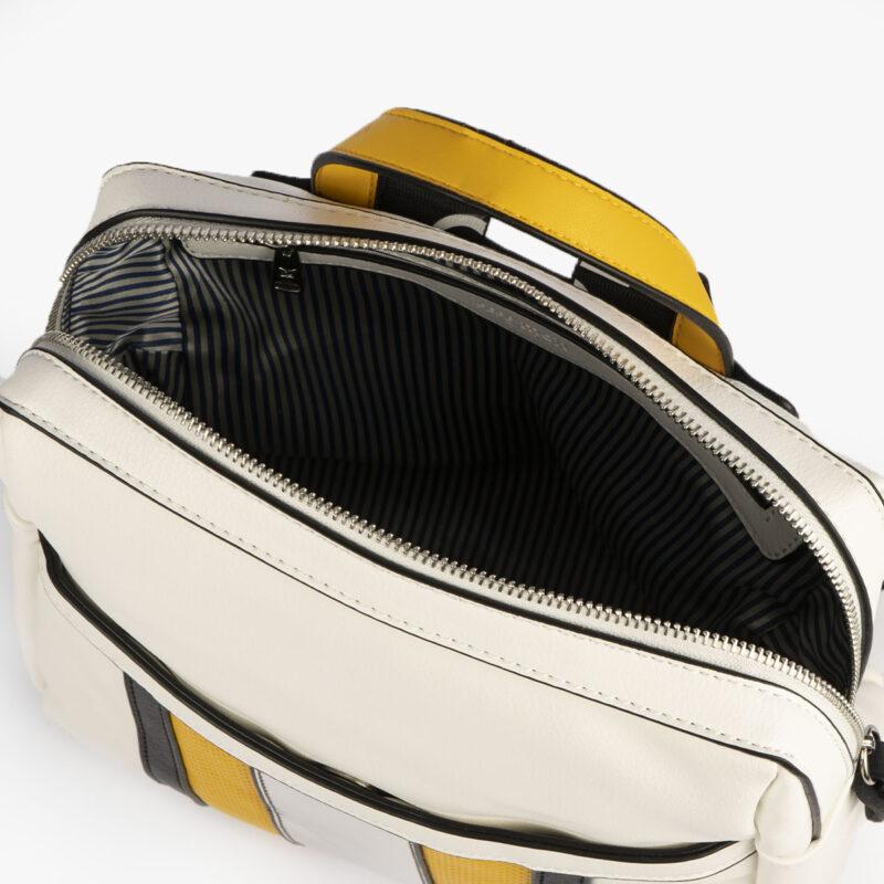 bolso mochila blanco y amarillo 34126 pepemoll interior