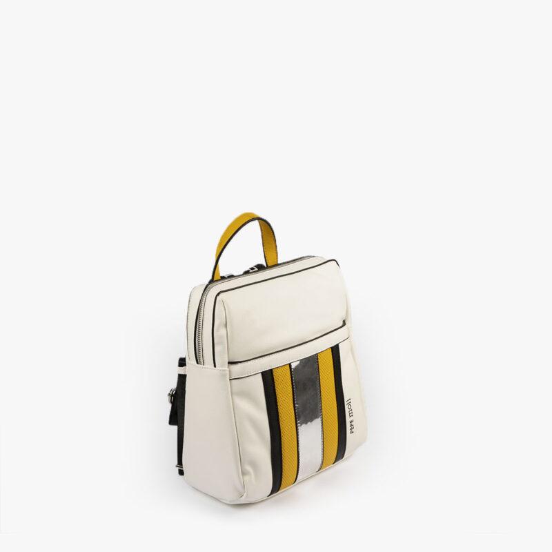 bolso mochila blanco y amarillo 34126 pepemoll perfil