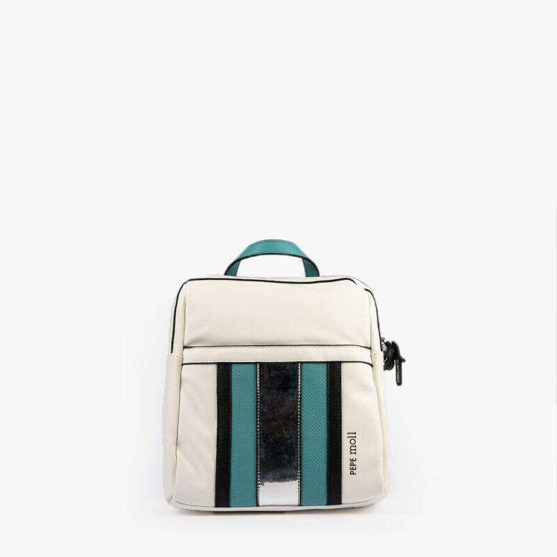 bolso mochila blanco y azul 34126 pepemoll frontal