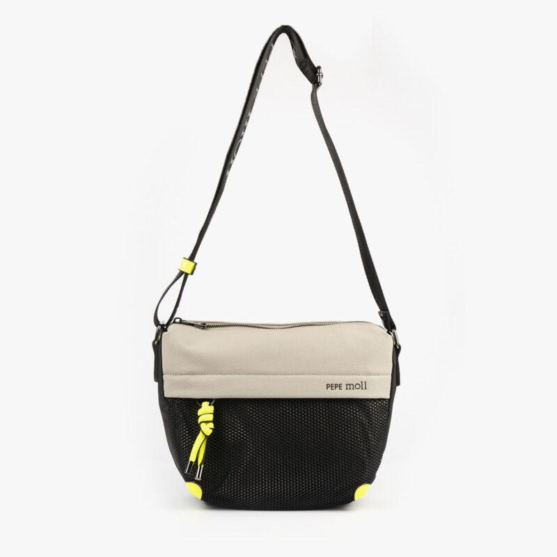 bolso de hombro 35120 negro con detalles verdes pepemoll frontal