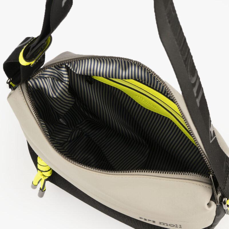 bolso de hombro 35120 negro con detalles verdes pepemoll interior
