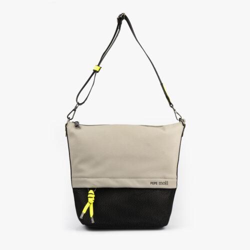 bolso bandolera negra con tonos color perla y detalles fluorescentes 35121