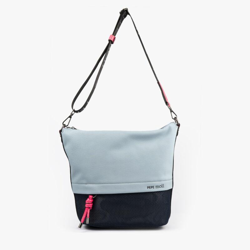 bolso bandolera negra con tonos color azul y detalles fluorescentes 35121 frontal