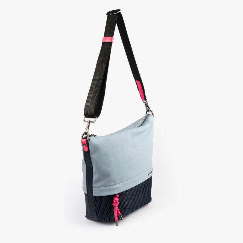 bolso bandolera negra con tonos color azul y detalles fluorescentes 35121 perfil