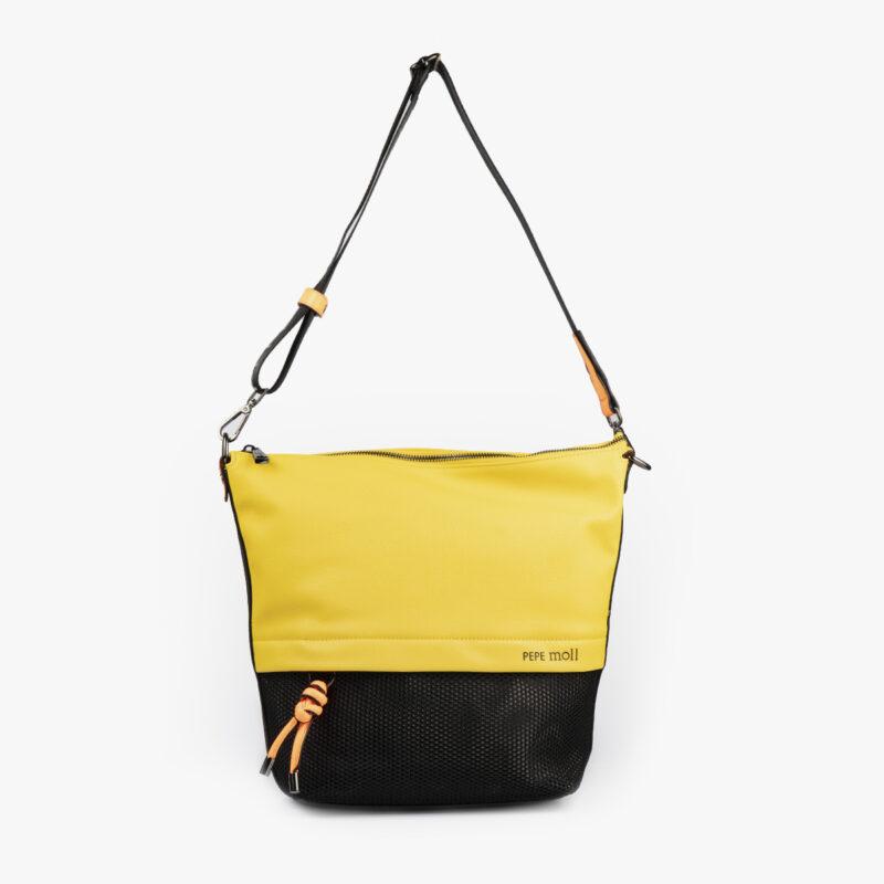 bolso bandolera negra con tonos color amarillo y detalles fluorescentes 35121 frontal