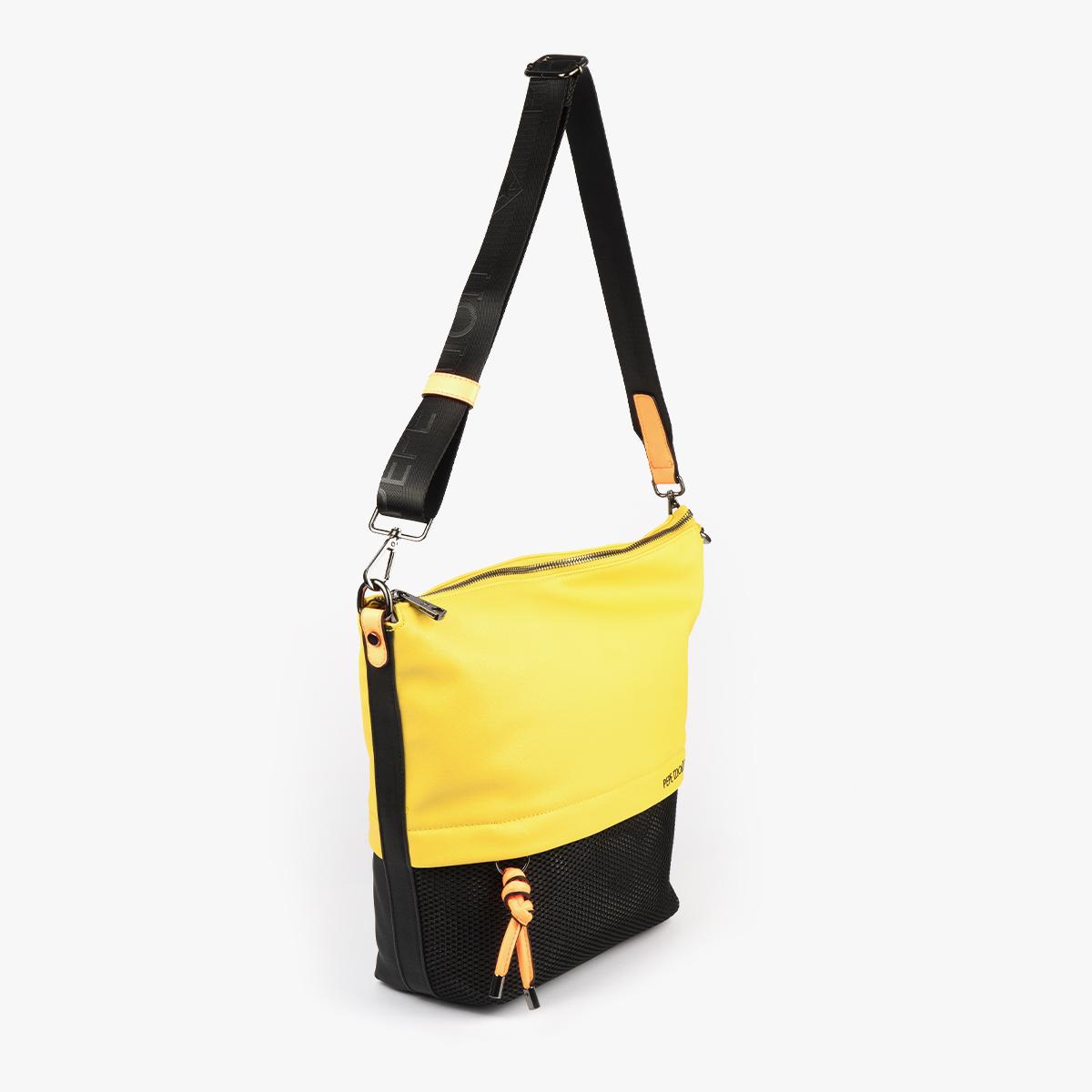 bolso bandolera negra con tonos color amarillo y detalles fluorescentes 35121