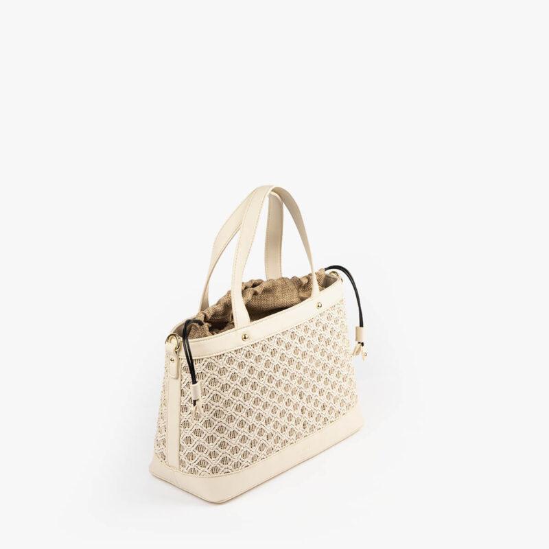bolso de mano malla blanco pepemoll 37106 perfil