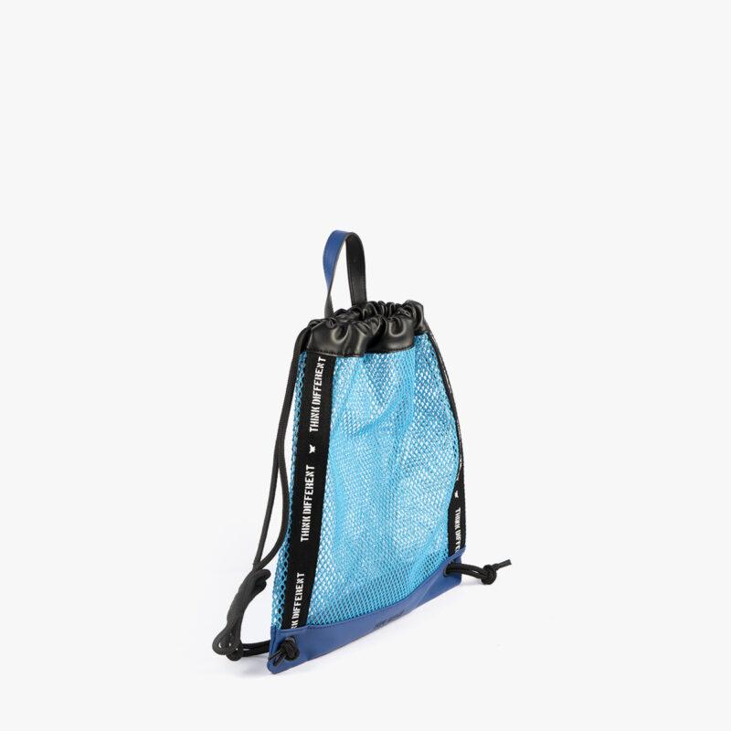 bolso mochila de malla azul pepemoll 51151 perfil