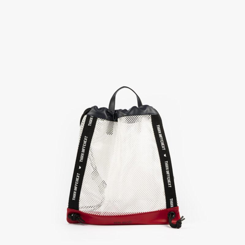 bolso mochila de malla blanco pepemoll 51151 frontal