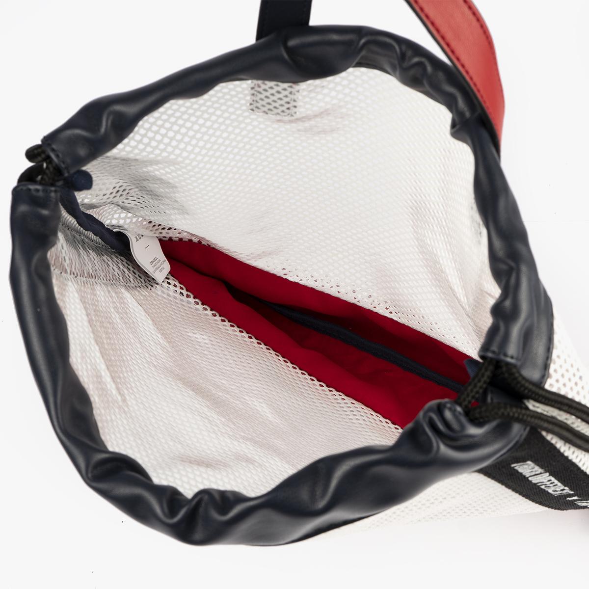 bolso mochila de malla blanco pepemoll 51151