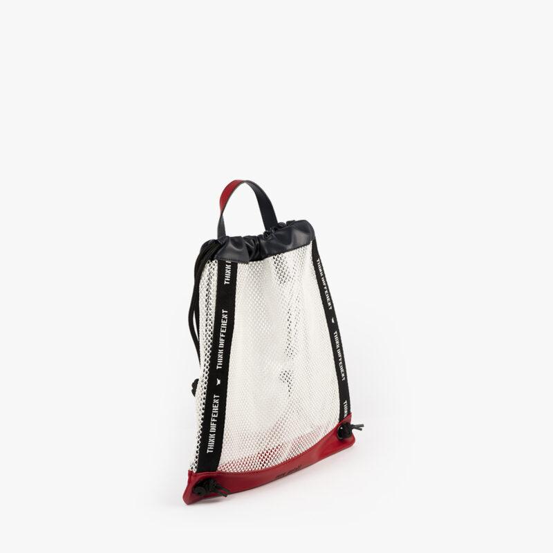 bolso mochila de malla blanco pepemoll 51151 perfil
