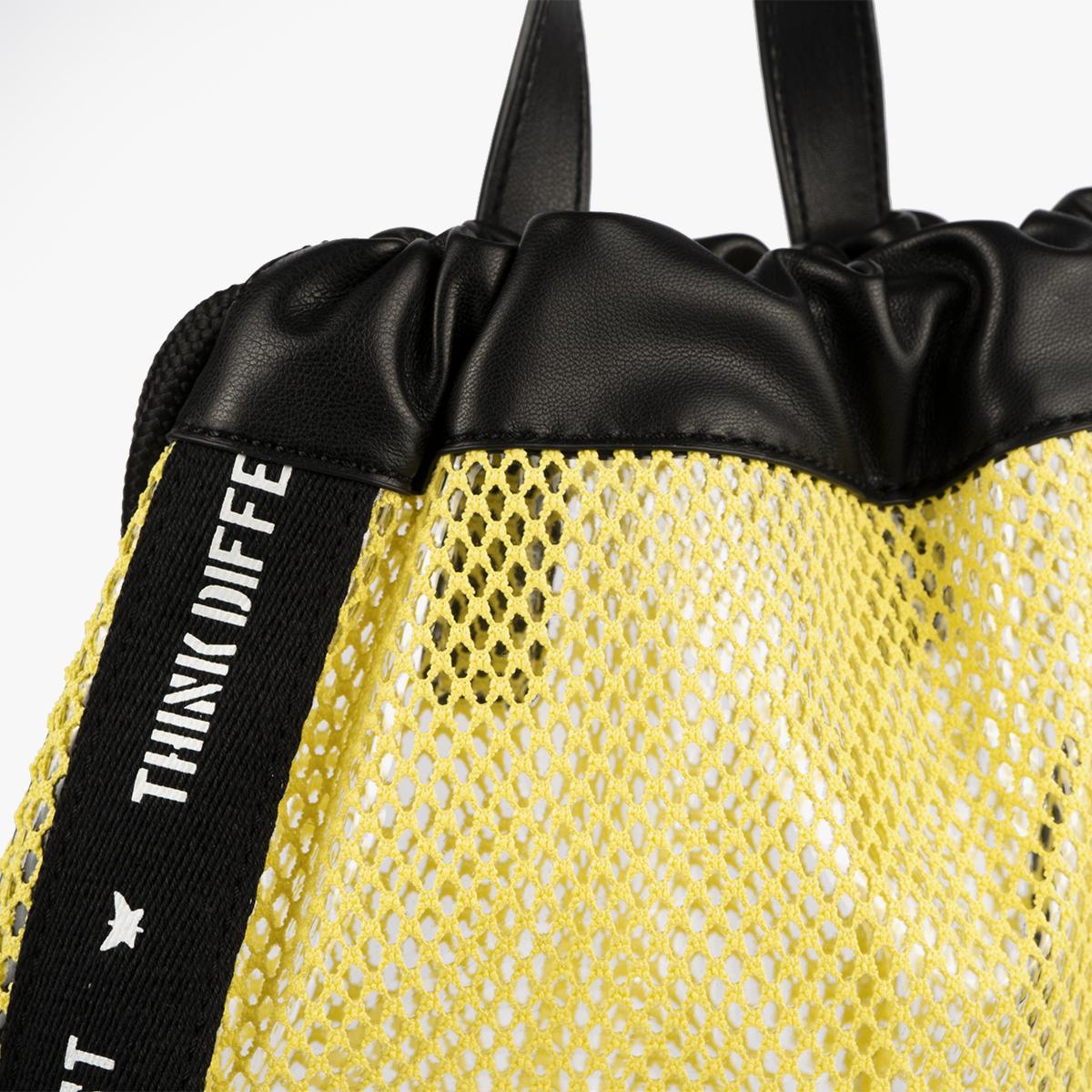 bolso mochila de malla amarillo pepemoll 51151