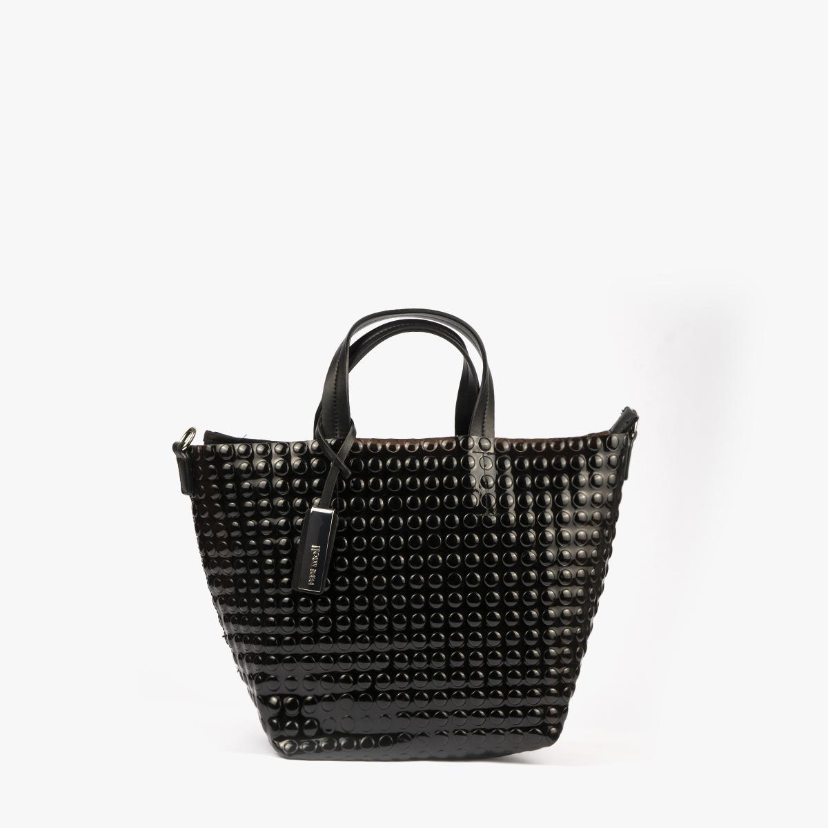 bolso de mano estilo bubble en color negro pepemoll 55048