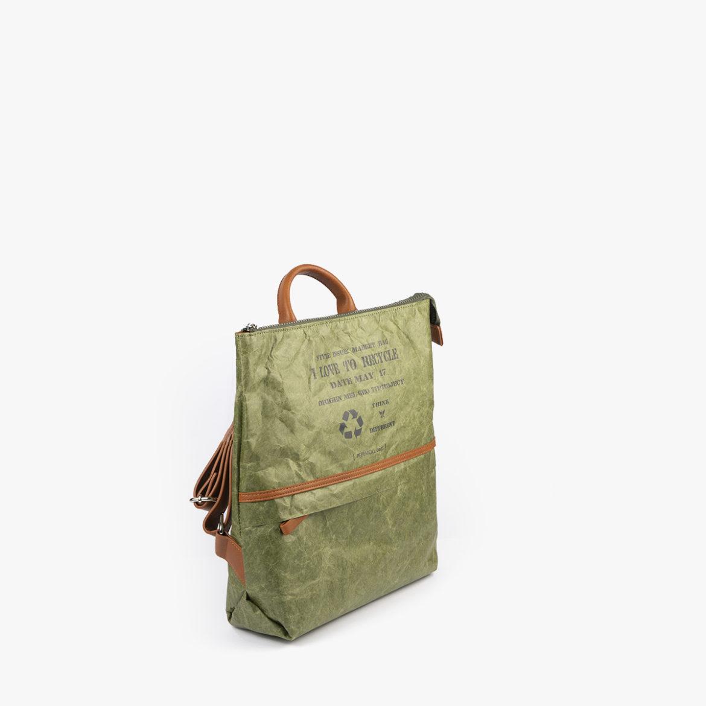 bolso mochila de papel verde pepemoll 57051