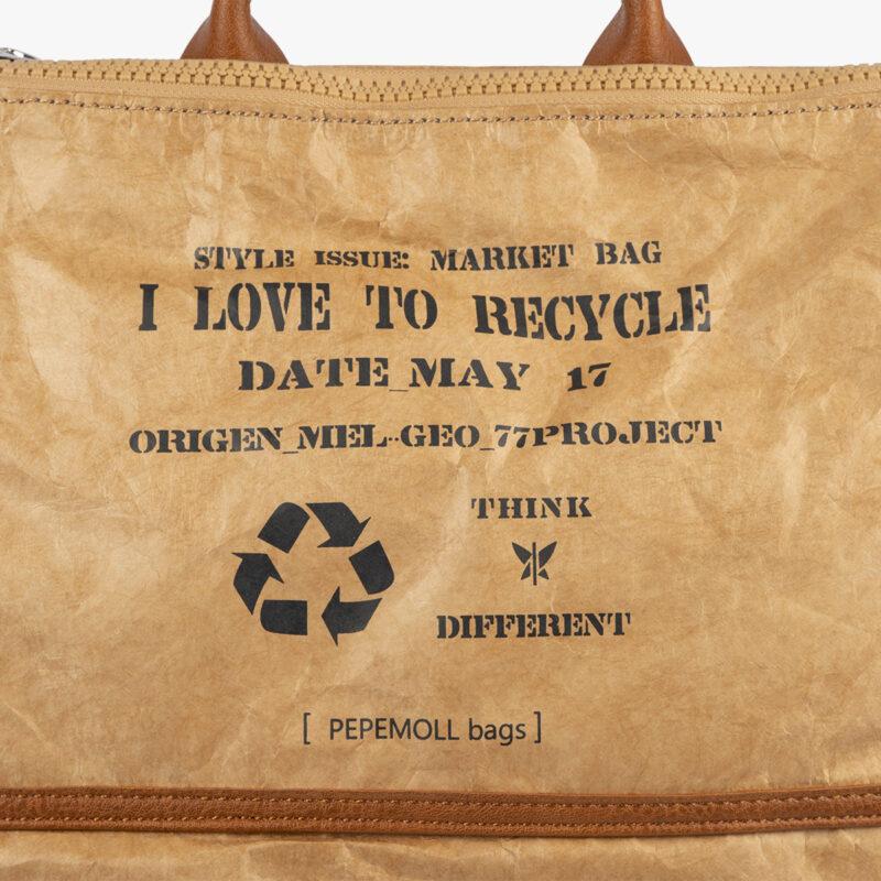 bolso mochila de papel verde pepemoll 57051 detalle