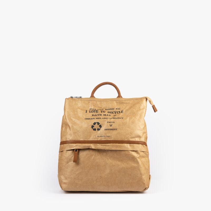 bolso mochila de papel verde pepemoll 57051 frontal