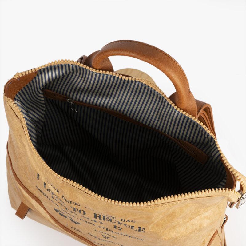 bolso mochila de papel verde pepemoll 57051 interior